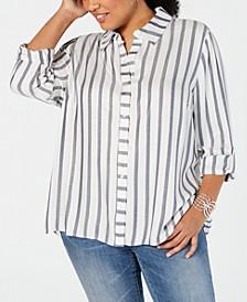INC Plus Size Metallic-Stripe Shirt, Created for Macy's