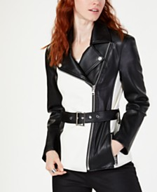 I.N.C. Faux-Leather Colorblocked Jacket, Created for Macy's