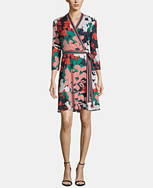 ECI Printed Faux-Wrap Dress