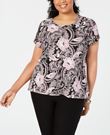 I.N.C. Plus Size Paisley Grommet T-Shirt, Created for Macy's