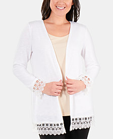 NY Collection Petite Open-Front Lace-Trimmed Cardigan Sweater