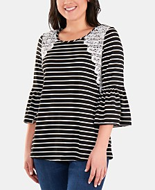 NY Collection Petite Crochet-Trimmed Striped Bell-Sleeve Top
