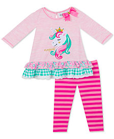 Rare Editions Baby Girls 2-Pc. Unicorn Top & Striped Leggings