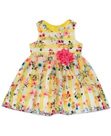 Rare Editions Baby Girls Striped Floral-Print Dress