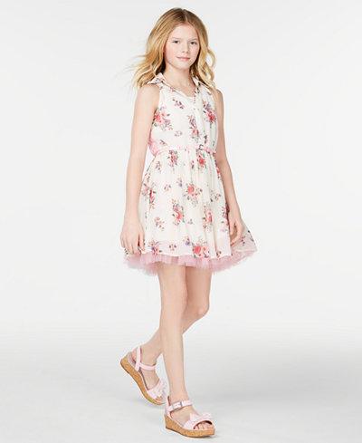 Beautees Big Girls Printed Shirtwaist Dress