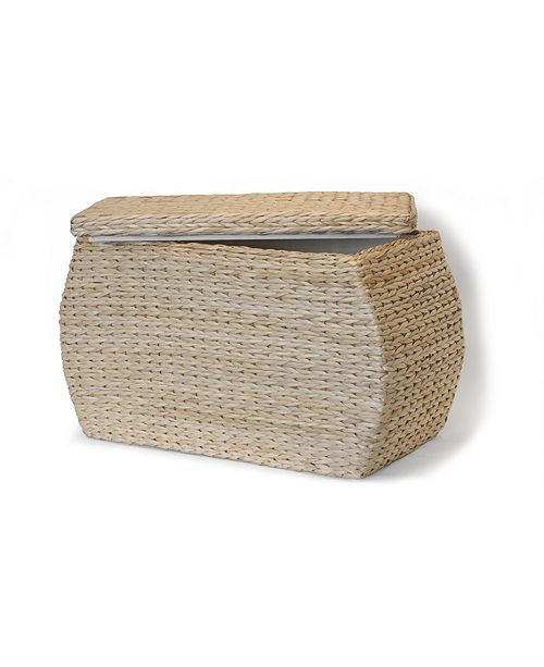 Baum Rectangular Bulge Havana Weave Rush Lined Storage Ottoman with Lift-Off Lid