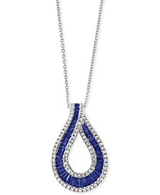 "EFFY® Sapphire (1-5/8 ct .t.w.) & Diamond (3/8 ct. t.w) 18"" Pendant Necklace in 14k White Gold (Also Available in Certified Ruby)"