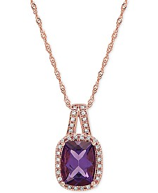 """Amethyst (1-1/2 ct. t.w.) & Diamond (1/10 ct.t.w.) 18"""" Pendant Necklace in 14k Rose Gold"""