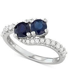 Sapphire (1 ct. t.w.) & Diamond (3/8 ct. t.w.) Two Stone Ring in 14k White Gold