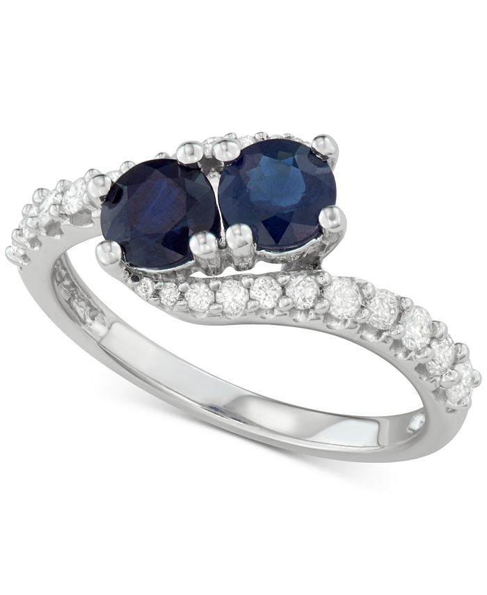 Macy's - Sapphire (1 ct. t.w.) & Diamond (3/8 ct. t.w.) Two Stone Ring in 14k White Gold