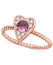 Pink Sapphire (3/8 ct. t.w.) & Certified Diamond (1/10 ct. t.w.) Heart Ring in 14k Rose Gold