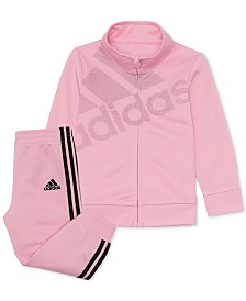 adidas Little Girls 2-Pc. Logo Jacket & Jogger Pants Set