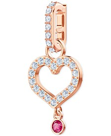 Swarovski Remix Rose Gold-Tone Pavé Heart Clip-On Charm