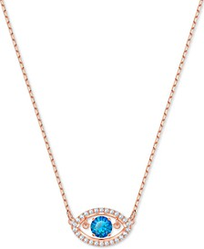 "Rose Gold-Tone Crystal Evil Eye Pendant Necklace, 14-4/5"" + 4"" extender"