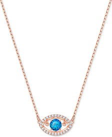 "Swarovski Rose Gold-Tone Crystal Evil Eye Pendant Necklace, 14-4/5"" + 4"" extender"