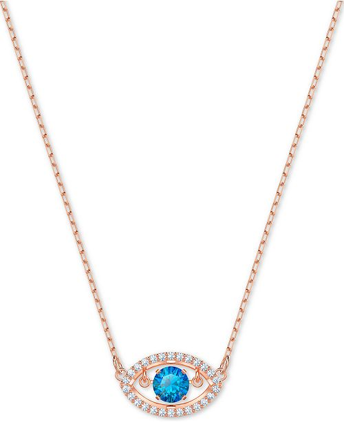 18b84c66a9ea2 Rose Gold-Tone Crystal Evil Eye Pendant Necklace, 14-4/5 + 4 extender