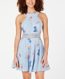 City Studios Juniors' Floral Lace Illusion Dress