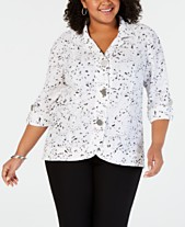 b979f250ee0cf JM Collection Plus Size Printed Textured Jacket