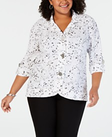 JM Collection Plus Size Printed Textured Jacket, Created for Macy's