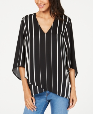 Karen Kane Tops STRIPED ASYMMETRICAL-HEM TOP, A MACY'S EXCLUSIVE