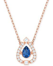 "Swarovski Rose Gold-Tone Crystal 3D Cage Pear-Shape Pendant Necklace, 14-4/5"" + 4"" extender"
