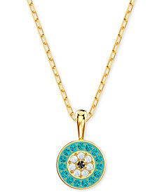 "Swarovski Multi-Pavé Evil Eye Pendant Necklace, 14-7/8"""