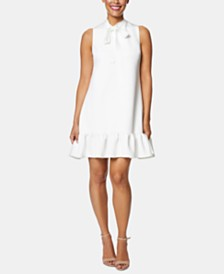 Betsey Johnson Tie-Neck Flounce Dress
