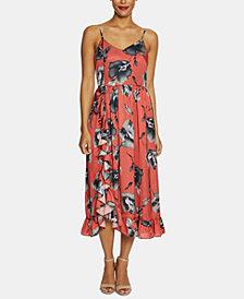 Avec Les Filles Brushstroke Floral Ruffled Midi Dress