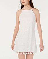 f23a8b8c80 Speechless Juniors  Allover-Lace Tassel-Hem Dress