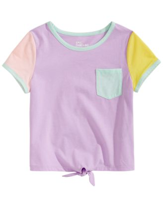 Little Girls Colorblocked Tie-Front T-Shirt, Created for Macy's