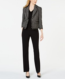 Anne Klein Boucle Patch-Pocket Notch-Lapel Jacket, V-Neck Top & Bi-Stretch Flare-Leg Pants