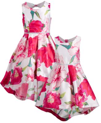 Big Girls Floral-Print High-Low Hem Dress