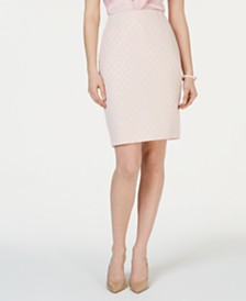 Kasper Jacquard Metallic-Dot Skirt