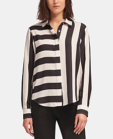 DKNY Mixed-Stripe Blouse