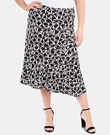 49abeba5833db NY Collection Plus Size Printed Midi Skirt