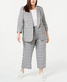 Bar III Plus Size Plaid Jacket, Solid T-Shirt & Wide-Leg Pants, Created for Macy's