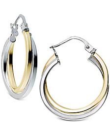 Two-Tone Twist Hoop Earrings in Sterling Silver & 18k Gold-Plate, Created for Macy's