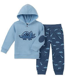 Kids Headquarters Baby Boys 2-Pc. Dinosaur Hooded Sweatshirt & Jogger Pants Set