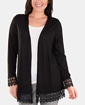 f236bf9514 NY Collection Crochet-Lace Trim Cardigan
