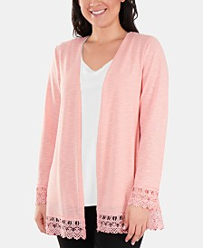 NY Collection Crochet-Lace Trim Cardigan