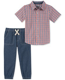 Kids Headquarters Baby Boys 2-Pc. Cotton Plaid Shirt & Chambray Jogger Pants Set
