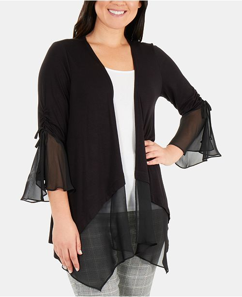 NY Collection Ruched Bell-Sleeve Open-Front Cardigan