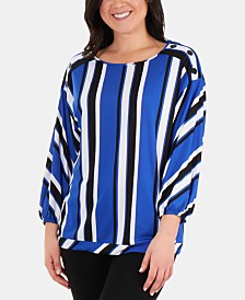 NY Collection Striped Drop-Shoulder Top
