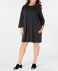 Eileen Fisher Plus Size Bracelet-Sleeve Dress