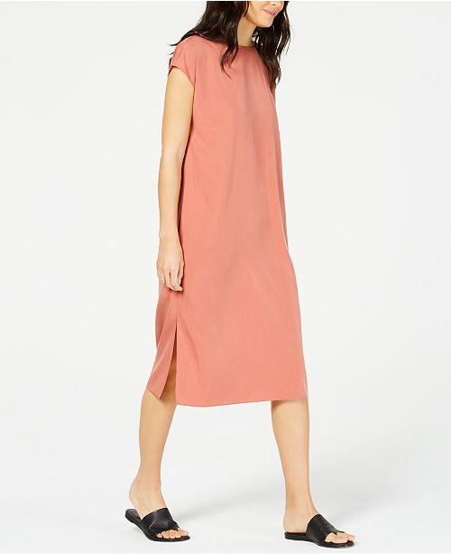 Eileen Fisher Tencel® Side-Slit Cap-Sleeve Dress
