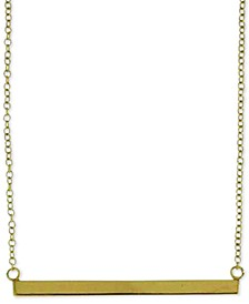 """Horizontal Bar Pendant Necklace in 18k Gold-Plated Sterling Silver, 18"""" + 2"""" extender"""