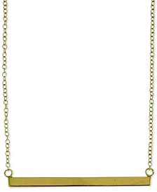 "Horizontal Bar Pendant Necklace in 18k Gold-Plated Sterling Silver, 18"" + 2"" extender"