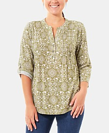 NY Collection Pleated Roll-Tab Sleeve Top