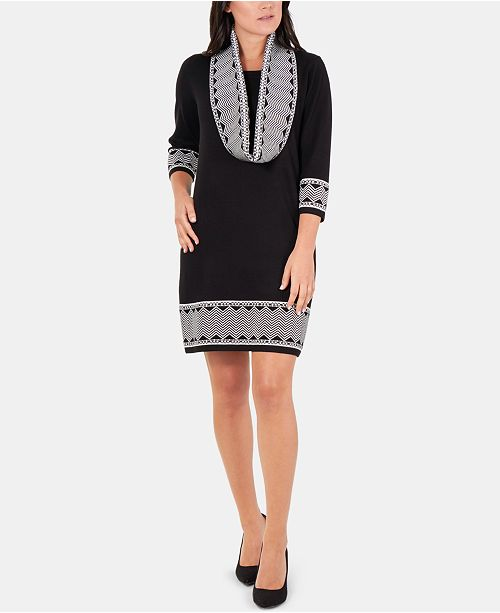 NY Collection Border-Print Scarf-Accent Dress