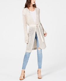 I.N.C. Metallic Open-Knit Long Cardigan, Created for Macy's